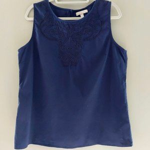 Banana Republic Blue Sleeveless Embroidered Top
